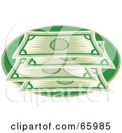 Royalty Free RF Clipart Illustration Of A Stacked Green Bank Notes