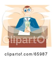 Royalty Free RF Clipart Illustration Of A Male Banker Sitting With Cash At His Desk by Prawny