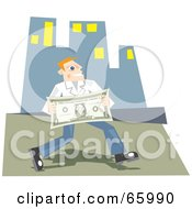 Royalty Free RF Clipart Illustration Of A Successful Man Carrying A Large Dollar Bill In A City by Prawny