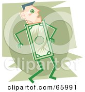 Royalty Free RF Clipart Illustration Of A Dollar Bill Guy With A Human Head by Prawny