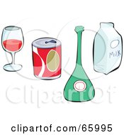Royalty Free RF Clipart Illustration Of A Digital Collage Of Non Alcoholic And Alcoholic Beverages