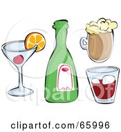 Royalty Free RF Clipart Illustration Of A Digital Collage Of Alcoholic Beverages by Prawny