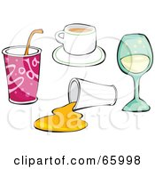 Royalty Free RF Clipart Illustration Of A Digital Collage Of Drinks by Prawny