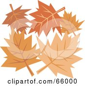 Royalty Free RF Clipart Illustration Of A Group Of Orange Autumn Leaves by Prawny