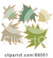 Royalty Free RF Clipart Illustration Of A Group Of Green Autumn Leaves by Prawny