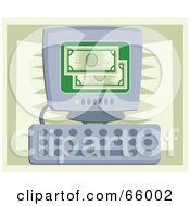 Royalty Free RF Clipart Illustration Of Green Bank Notes On A Computer Screen