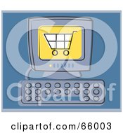 Royalty Free RF Clipart Illustration Of A Shopping Cart On A Computer Screen Over Blue by Prawny