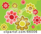 Royalty Free RF Clipart Illustration Of A Colorful Flower Design On A Green Background by Prawny