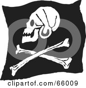 Royalty Free RF Clipart Illustration Of A Profiled Black And White Jolly Roger Pirate Flag