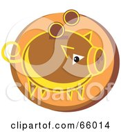 Royalty Free RF Clipart Illustration Of A Brown Coin Bank Over An Orange Circle