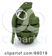 Royalty Free RF Clipart Illustration Of A 3d Green Military Hand Grenade by KJ Pargeter