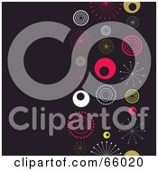 Royalty Free RF Clipart Illustration Of A Dark Retro Background With Colorful Bursts And Circles