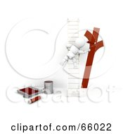 Royalty Free RF Clipart Illustration Of A 3d White Character On A Ladder Painting A Wall Red by KJ Pargeter