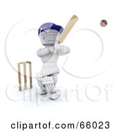 Royalty Free RF Clipart Illustration Of A 3d White Character Swinging A Cricket Bat