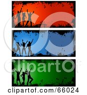 Royalty Free RF Clipart Illustration Of A Digital Collage Of Silhouetted Grunge Dancer Headers by KJ Pargeter
