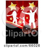 Royalty Free RF Clipart Illustration Of A Red And Black Music Background Of White Silhouetted Dancers With Stars Over Speakers by KJ Pargeter