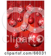 Royalty Free RF Clipart Illustration Of A Red Background Of Snowflake And Star Christmas Baubles