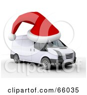 Royalty Free RF Clipart Illustration Of A 3d Red Santa Hat On Top Of A White Delivery Van