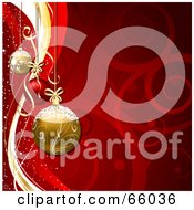Royalty Free RF Clipart Illustration Of A Red Swirl Christmas Background With Gold And Red Baubles