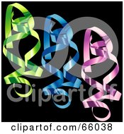 Royalty Free RF Clipart Illustration Of A Digital Collage Of Colorful Confetti Swirls On Black Version 3