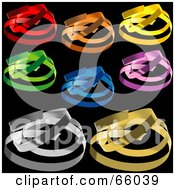 Royalty Free RF Clipart Illustration Of A Digital Collage Of Colorful Confetti Swirls On Black Version 1