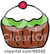 Royalty Free RF Clipart Illustration Of A Sketched Cupcake Version 2
