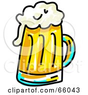 Royalty Free RF Clipart Illustration Of A Sketched Mug Of Beer by Prawny
