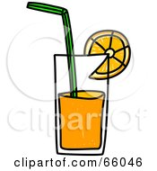 Royalty Free RF Clipart Illustration Of A Sketched Glass Of Orange Juice by Prawny