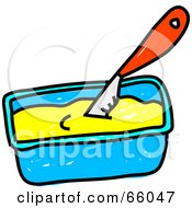 Royalty Free RF Clipart Illustration Of A Sketched Knife In Margarine
