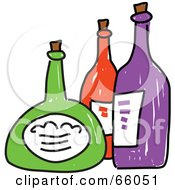 Royalty Free RF Clipart Illustration Of Three Sketched Colorful Bottles