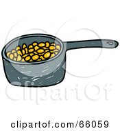 Royalty Free RF Clipart Illustration Of A Sketched Pan Of Baked Beans