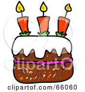 Royalty Free RF Clipart Illustration Of A Sketched Birthday Cake With Candles by Prawny