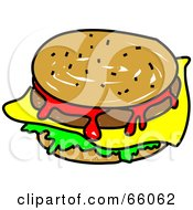 Royalty Free RF Clipart Illustration Of A Sketched Cheeseburger by Prawny