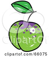 Royalty Free RF Clipart Illustration Of A Sketched Greengage Plum