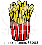 Royalty Free RF Clipart Illustration Of Sketched French Fries In A Container