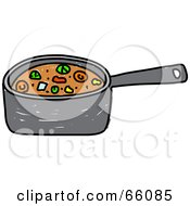 Royalty Free RF Clipart Illustration Of A Sketched Pan Of Stew by Prawny