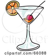 Royalty Free RF Clipart Illustration Of A Fruity Sketched Cocktail by Prawny