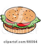 Royalty Free RF Clipart Illustration Of A Sketched Hamburger With Lettuce And Tomato