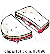 Royalty Free RF Clipart Illustration Of A Sketched Jelly Sandwich by Prawny