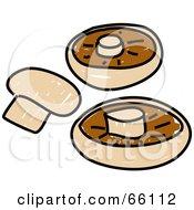 Royalty Free RF Clipart Illustration Of Three Button Mushrooms