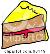Royalty Free RF Clipart Illustration Of A Sketched Slice Of Cake With Jelly Filling