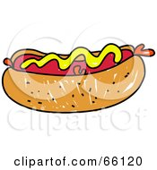 Royalty Free RF Clipart Illustration Of A Sketched Hot Dog Topped With Mustard by Prawny