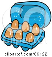 Royalty Free RF Clipart Illustration Of A Sketched Carton Of Eggs by Prawny