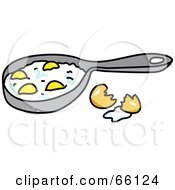 Sketched Eggs Frying In A Pan