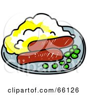 Royalty Free RF Clipart Illustration Of A Plate Of Peas Bangers And Mash by Prawny