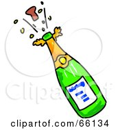 Royalty Free RF Clipart Illustration Of A Cork Popping Off Of A Green Champagne Bottle