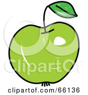 Royalty Free RF Clipart Illustration Of A Sketched Green Apple