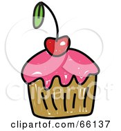 Royalty Free RF Clipart Illustration Of A Sketched Cupcake Version 1
