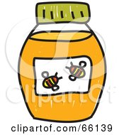 Royalty Free RF Clipart Illustration Of A Sketched Jar Of Honey