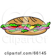 Royalty Free RF Clipart Illustration Of A Sketched Submarine Sandwich by Prawny